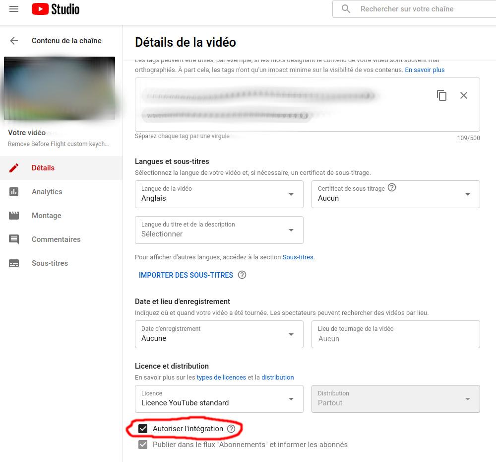 Activer l'intégration sur une vidéo youtube